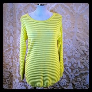 Vince Camuto neon yellow stripe scoop neck sweater